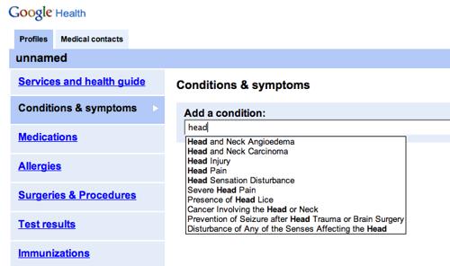 Google HealthScreenshot